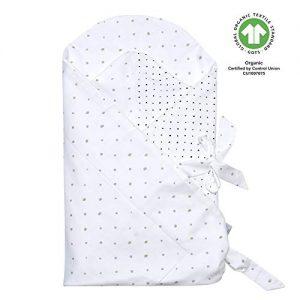 Kleckse grau und schwarz Baby Einschlagdecke GOTS zertifiziert aus BIO-Baumwolle Puckdecke Wickeldecke von Motherhood
